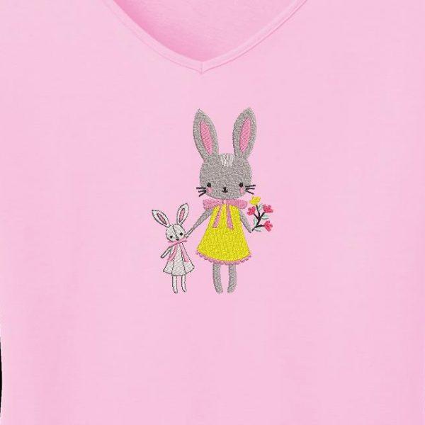 Diseño de bordado de la máquina de escaneo de conejo mamá.