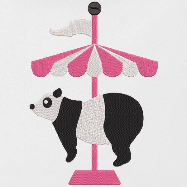 circo di panda. Disegno di ricamo macchina download immediato che rappresenta un simpatico panda su una giostra. cornice 10 x 10 / 13x 18/30 x 20. Formati di file PES, CSD, EXP, HUS, SHV, VIP, XXX, DST, PCS, JEF, VP3, EMB ... Download immediato dopo il pagamento.