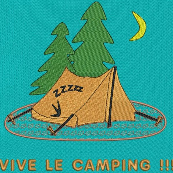 long live the campsite. Instant download machine embroidery design representing a tent erected in the middle of the forest with a camper inside who sleeps after a long walk. frame 13 x 18/20 x 20. File formats PES, CSD, EXP, HUS, SHV, VIP, XXX, DST, PCS, JEF, VP3, EMB ... Immediate download after your payment.