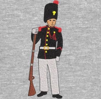 máquina de bordado desenho soldado granadeiro do império