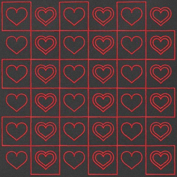 cœurs damier redwork