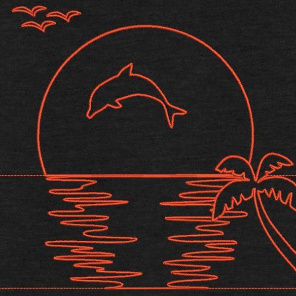 dauphin et coucher de soleil redwork