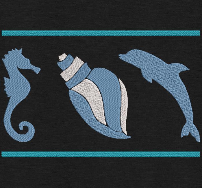 concha e golfinho do cavalo marinho