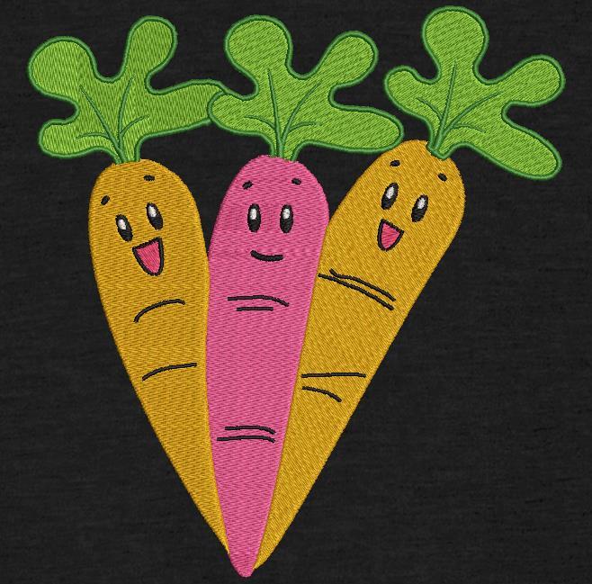 três cenouras felizes