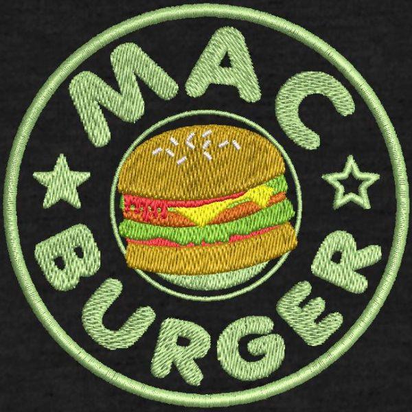 Cliente digitalización máquina bordado diseño hamburguesa mac