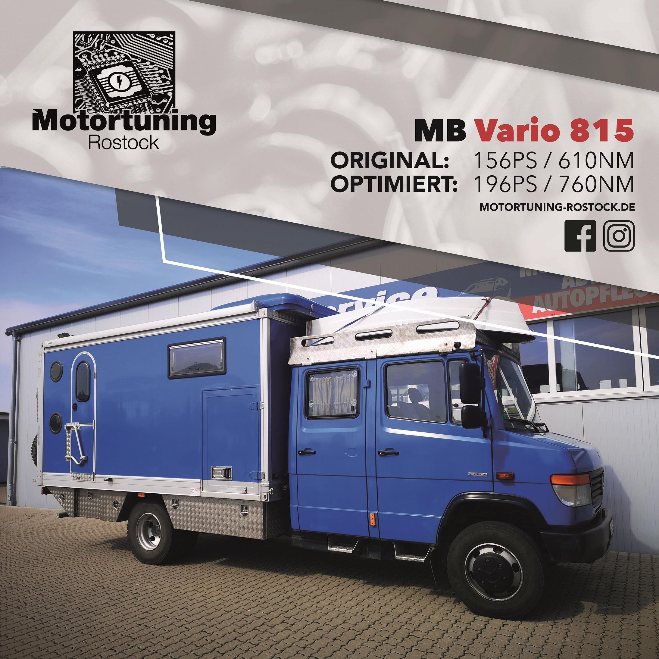Chiptuning-Motortuning Rostock, Kennfeldoptimierung, Leistungssteigerung, Mercedes Benz Vario 815, Truck LKW, Ansicht schräg vorn, blau, Originalleistung: 156 PS optimierte Leistung:196 PS