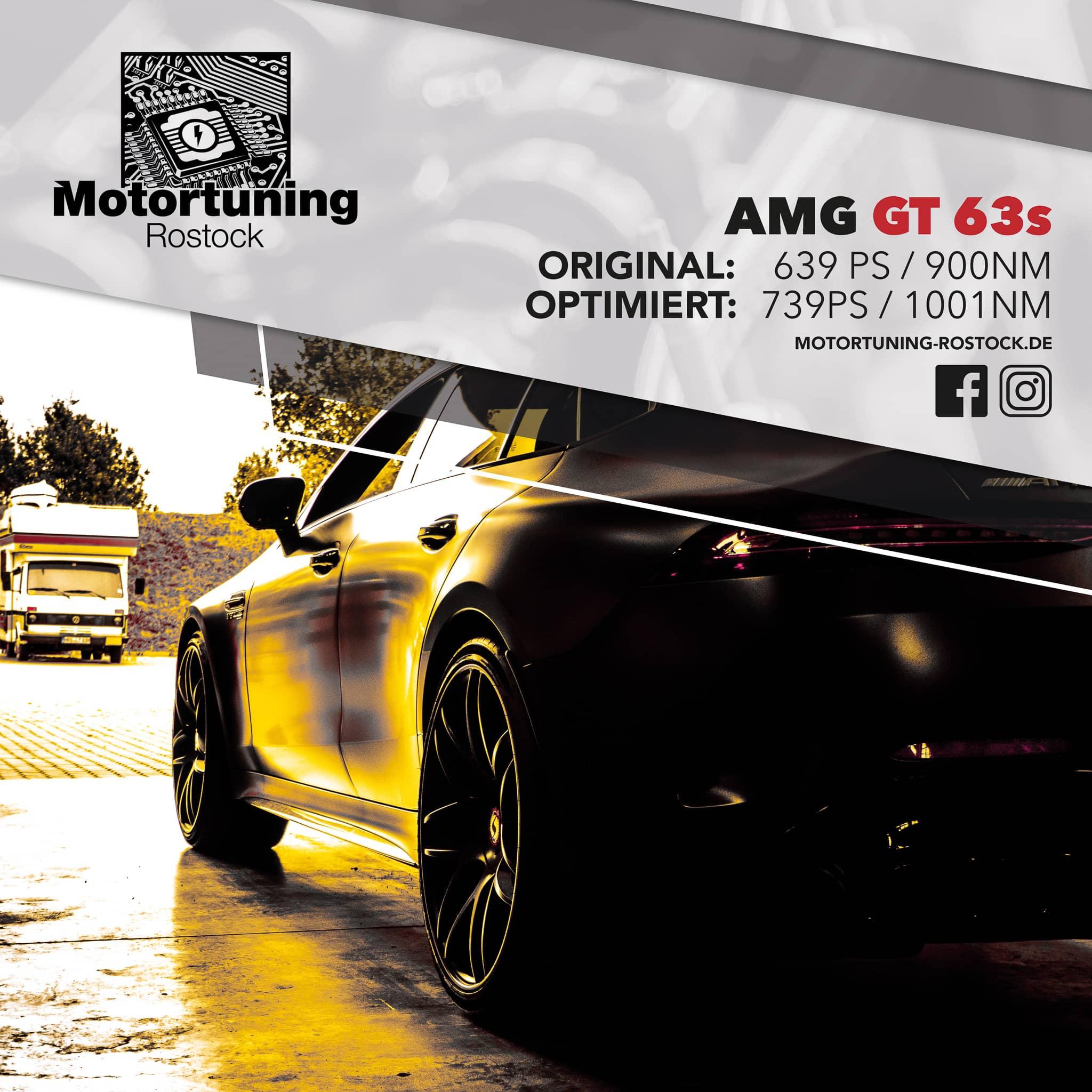 Chiptuning-Motortuning Rostock, Kennfeldoptimierung, Leistungssteigerung, AMG GT 63s , Ansicht schräg vorn, schwarz-gold, Originalleistung: 639 PS,optimierte Leistung: 739 PS