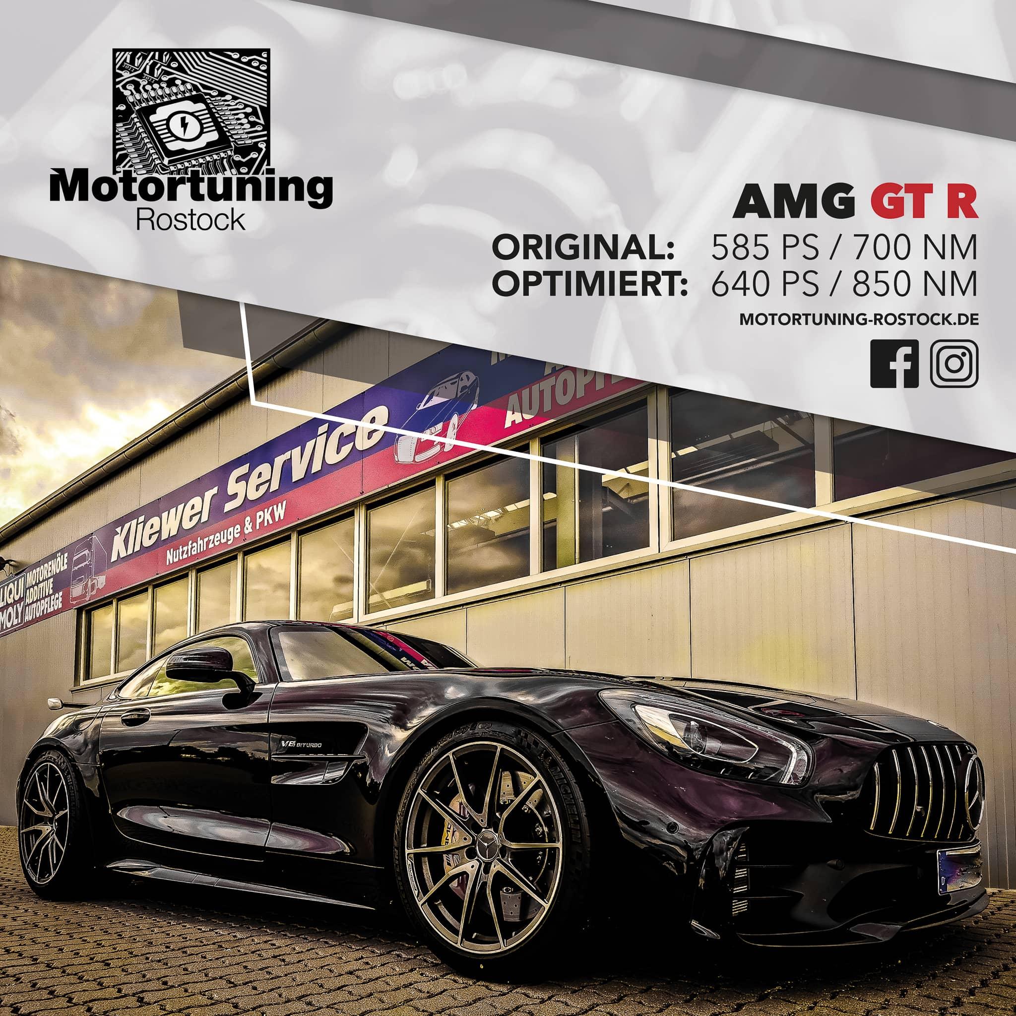 Chiptuning-Motortuning Rostock, Kennfeldoptimierung, Leistungssteigerung, AMG GT R , Ansicht schräg vorn, schwarz, Originalleistung: 585 PS,optimierte Leistung: 640 PS