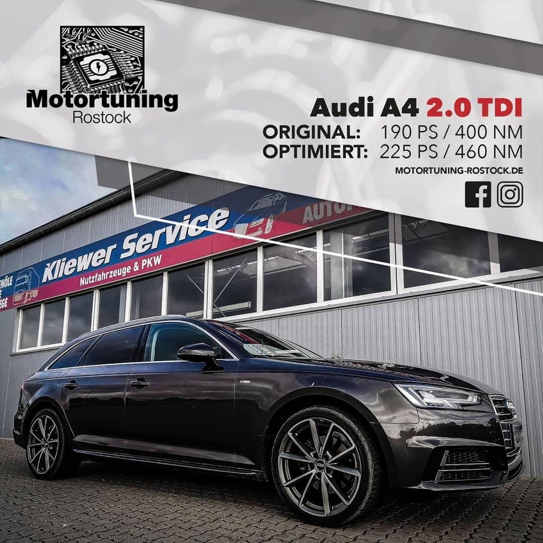 Chiptuning-Motortuning Rostock, Kennfeldoptimierung, LeistungssteigerungAudi A4 2.0 TDI, Ansicht schräg vorn, schwarz, Originalleistung: 190 PS, optimierte Leistung: 225 PS
