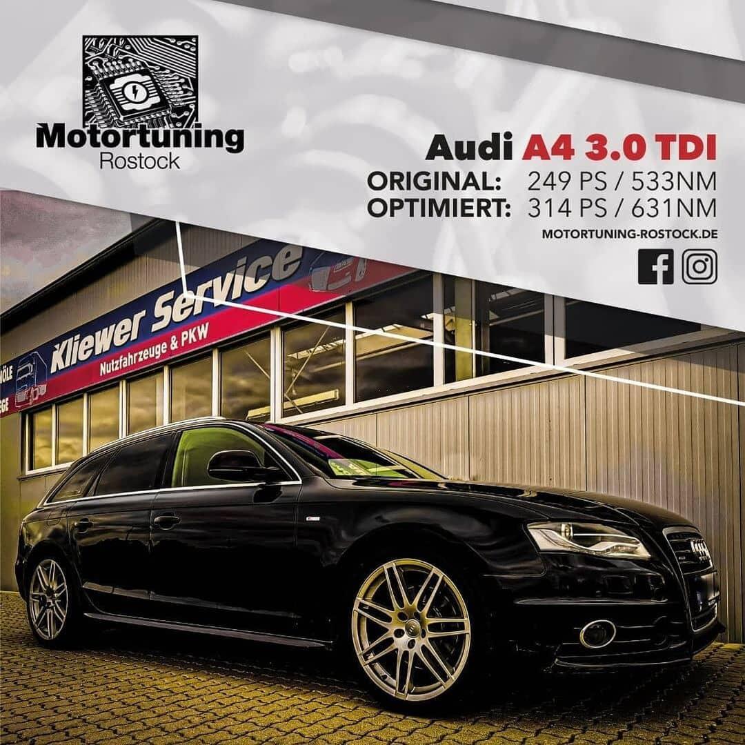 Chiptuning-Motortuning Rostock, Kennfeldoptimierung, Leistungssteigerung, Audi A4 3.0 TDI, Ansicht schräg vorn, schwarz, Originalleistung: 249 PS,optimierte Leistung: 314 PS