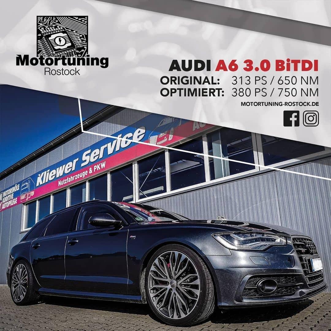 Chiptuning-Motortuning Rostock, Kennfeldoptimierung, Leistungssteigerung, Audi A6 3.0 BiTDI Chhiptuning, Ansicht schräg vorn, schwarz, Originalleistung: 313 PS, optimierte Leistung: 380 PS