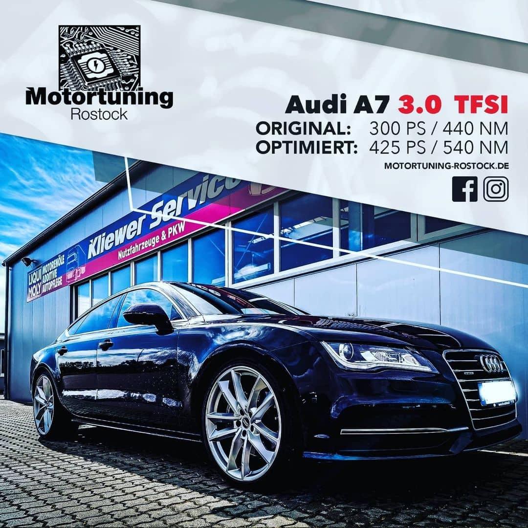Chiptuning-Motortuning Rostock, Kennfeldoptimierung, Leistungssteigerung, Audi A7 3.0 TFSI, Ansicht schräg vorn, schwarz, Originalleistung: 300 PS, optimierte Leistung: 425 PS