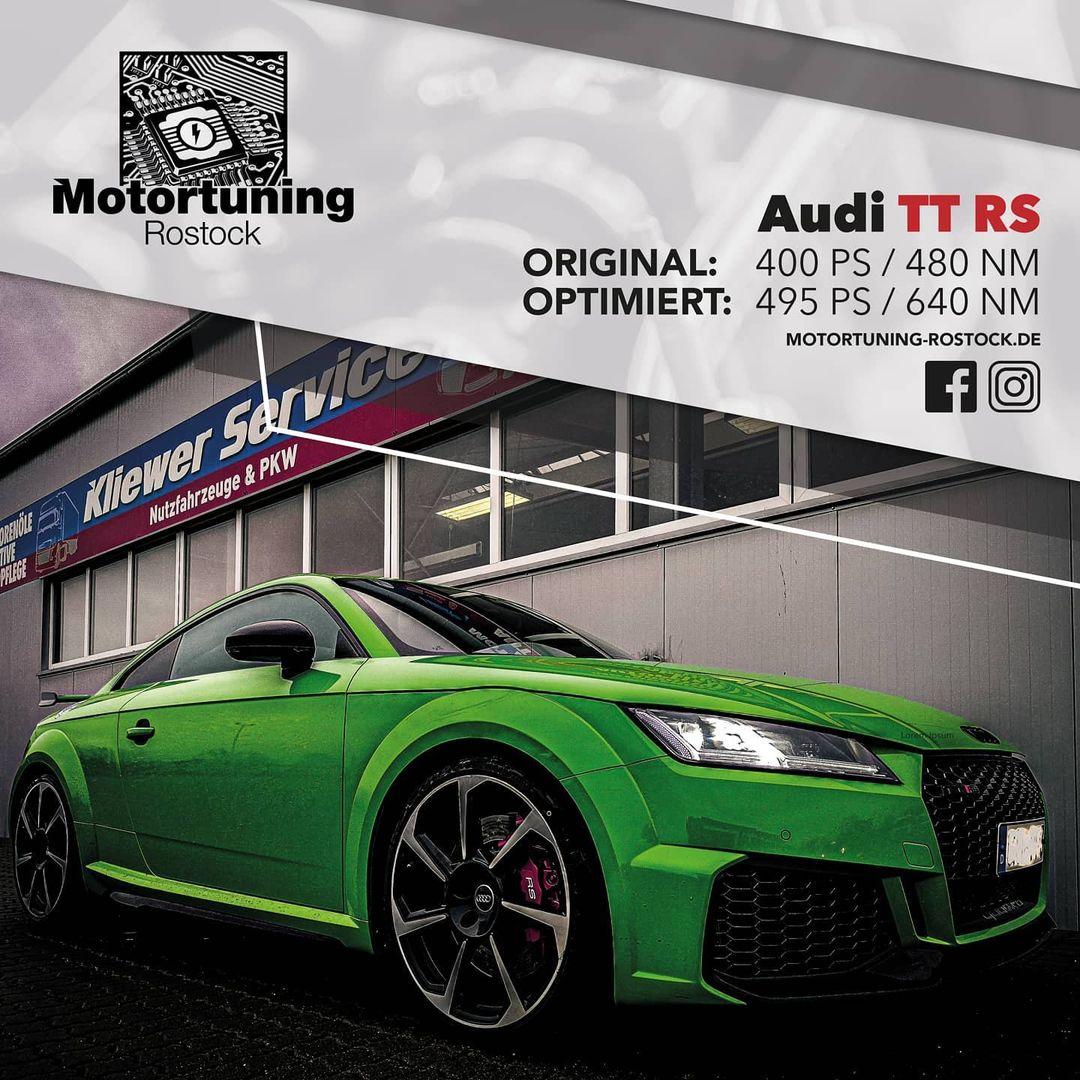 Chiptuning-Motortuning Rostock, Kennfeldoptimierung, Leistungssteigerung, Audi TT RS, Ansicht schräg vorn, grün, Originalleistung: 400 PS,optimierte Leistung: 495PS