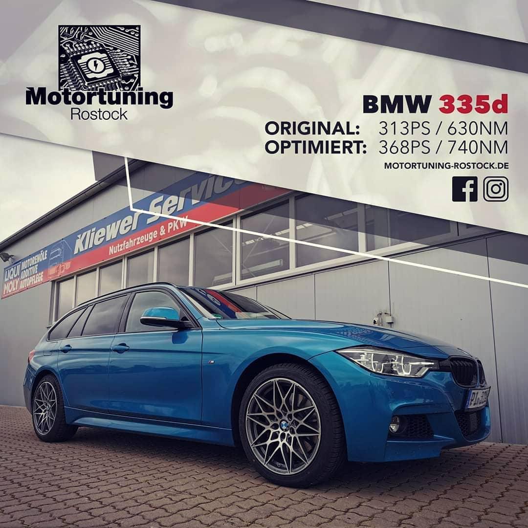 Chiptuning-Motortuning Rostock, Kennfeldoptimierung, Leistungssteigerung, BMW 3§5D , Ansicht schräg vorn,blau , Originalleistung: 313 PS,optimierte Leistung: 368 PS
