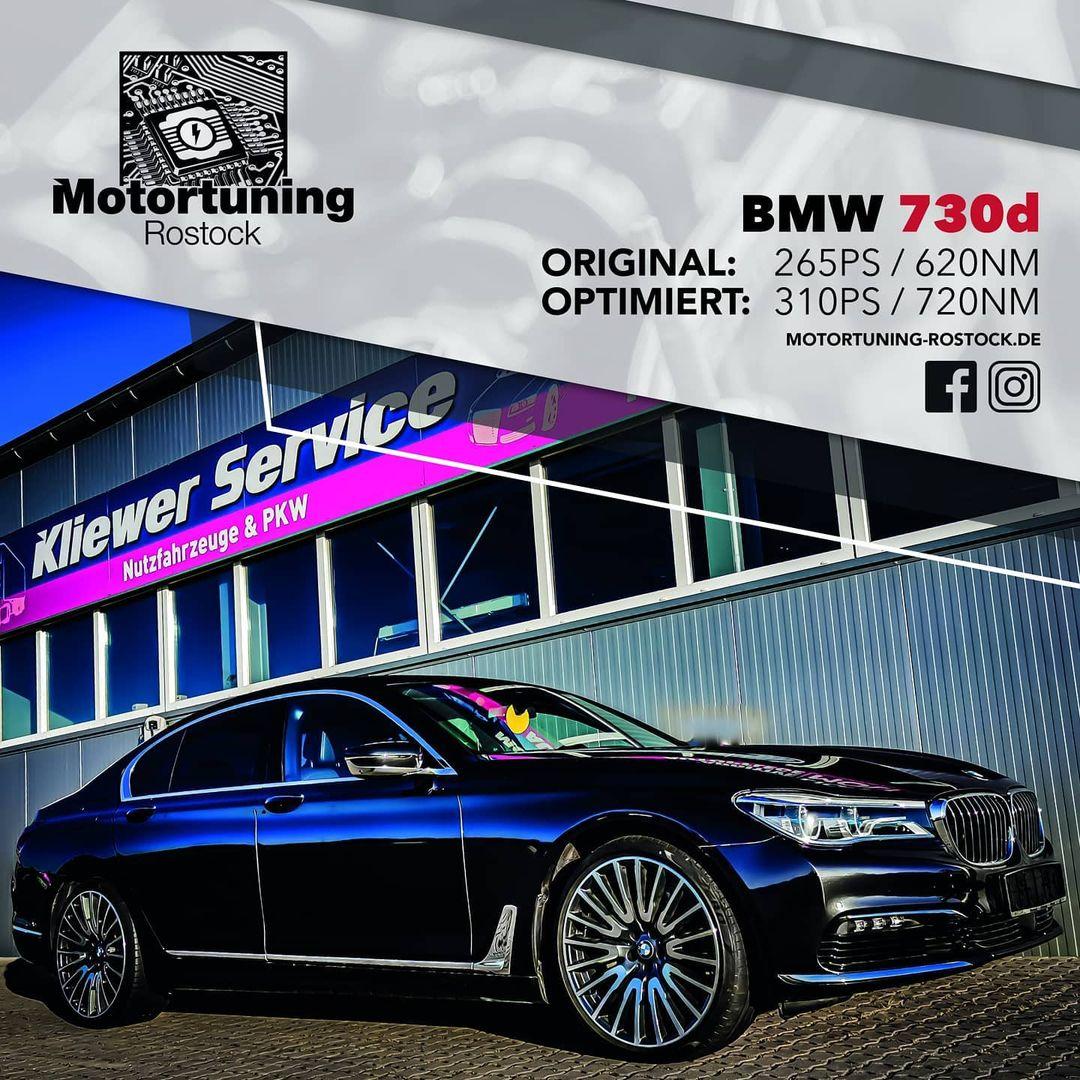 Chiptuning-Motortuning Rostock, Kennfeldoptimierung, Leistungssteigerung,BMW 730d, Ansicht schräg vorn, schwarz, Originalleistung: 265 PS,optimierte Leistung: 310 PS