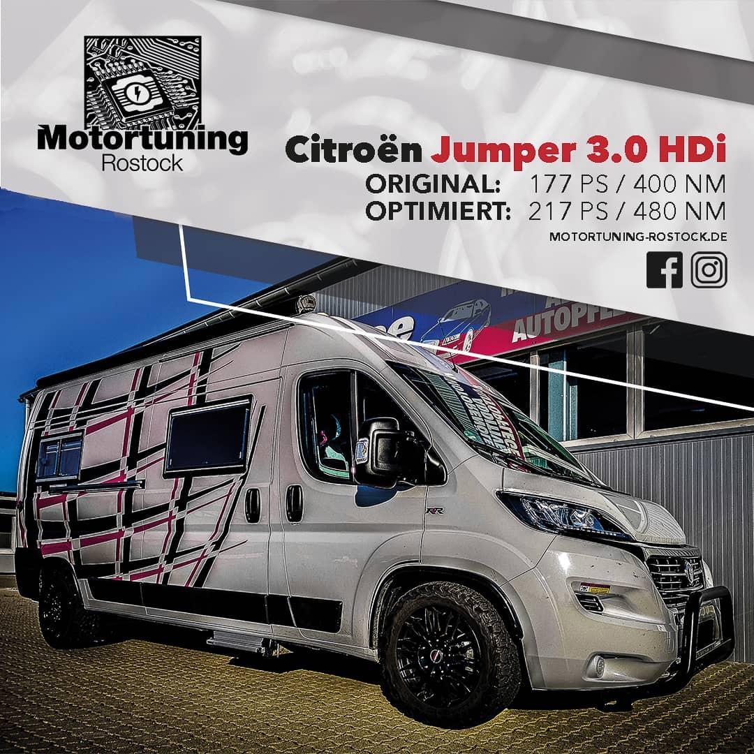 Chiptuning-Motortuning Rostock, Kennfeldoptimierung, Leistungssteigerung, Citoren Jumper 3.0 HDI, Ansicht schräg vorn, weiß, Originalleistung: 177 PS,optimierte Leistung: 217 PS