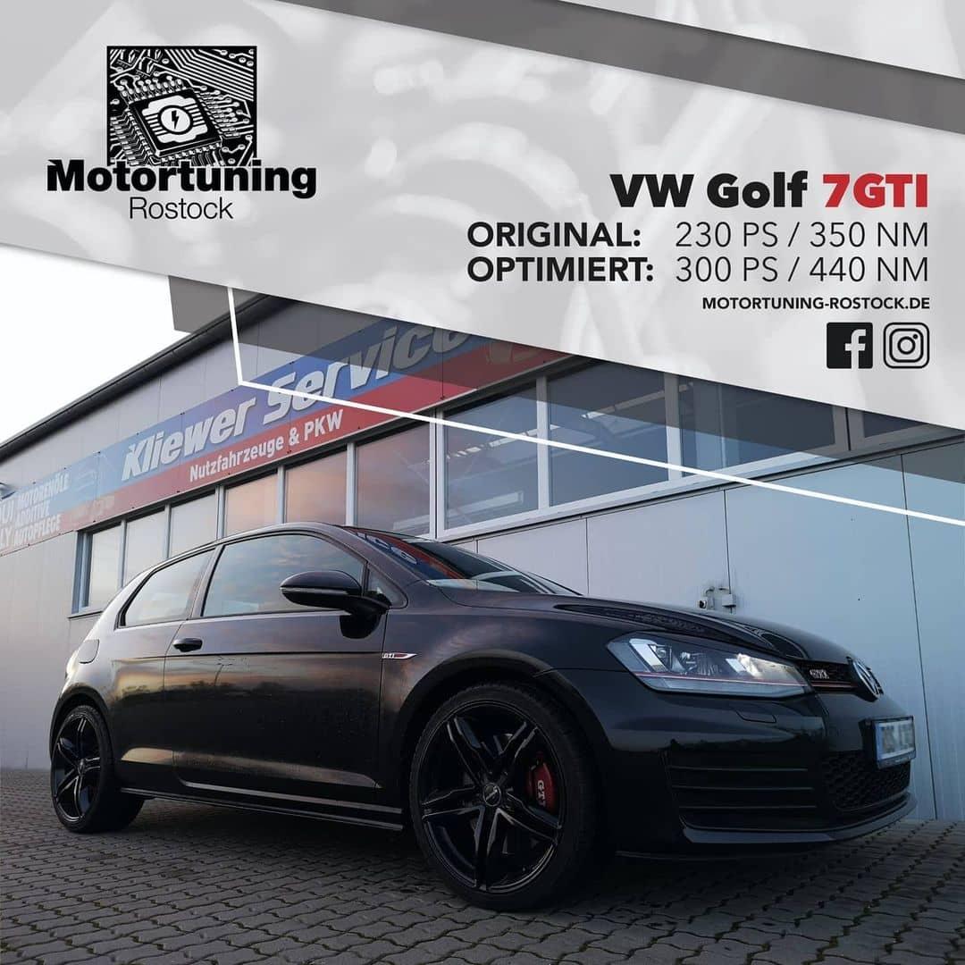 Chiptuning-Motortuning Rostock, Kennfeldoptimierung, Leistungssteigerung, VW Golf 7 GTI , Ansicht schräg vorn, schwarz, Originalleistung: 230 PS,optimierte Leistung: 300 PS