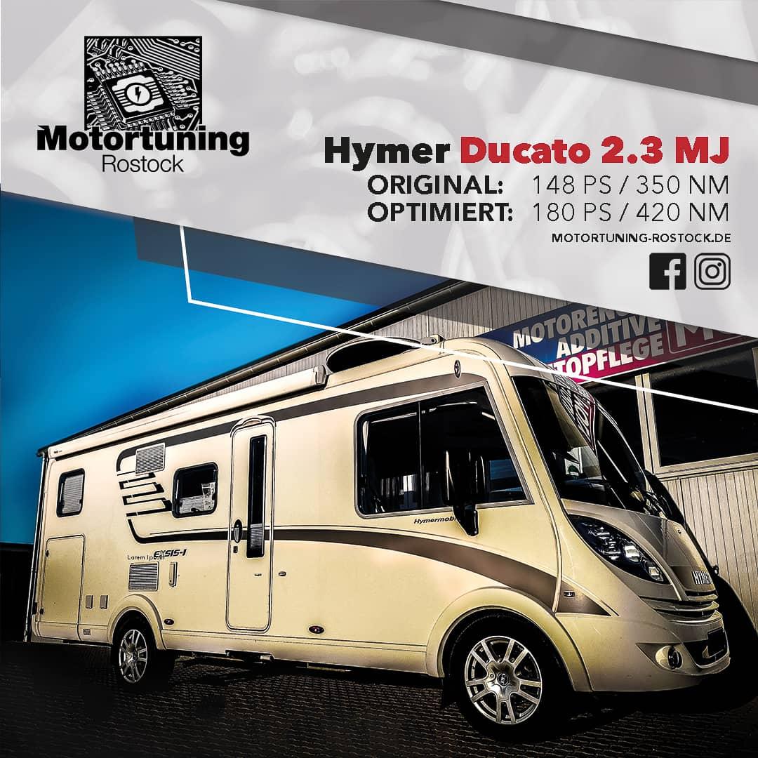 Chiptuning-Motortuning Rostock, Kennfeldoptimierung, Leistungssteigerung, Hymer Ducato 2.3 MJ, Ansicht schräg vorn, weiß, Originalleistung: 148 PS, optimierte Leistung: 180 PS