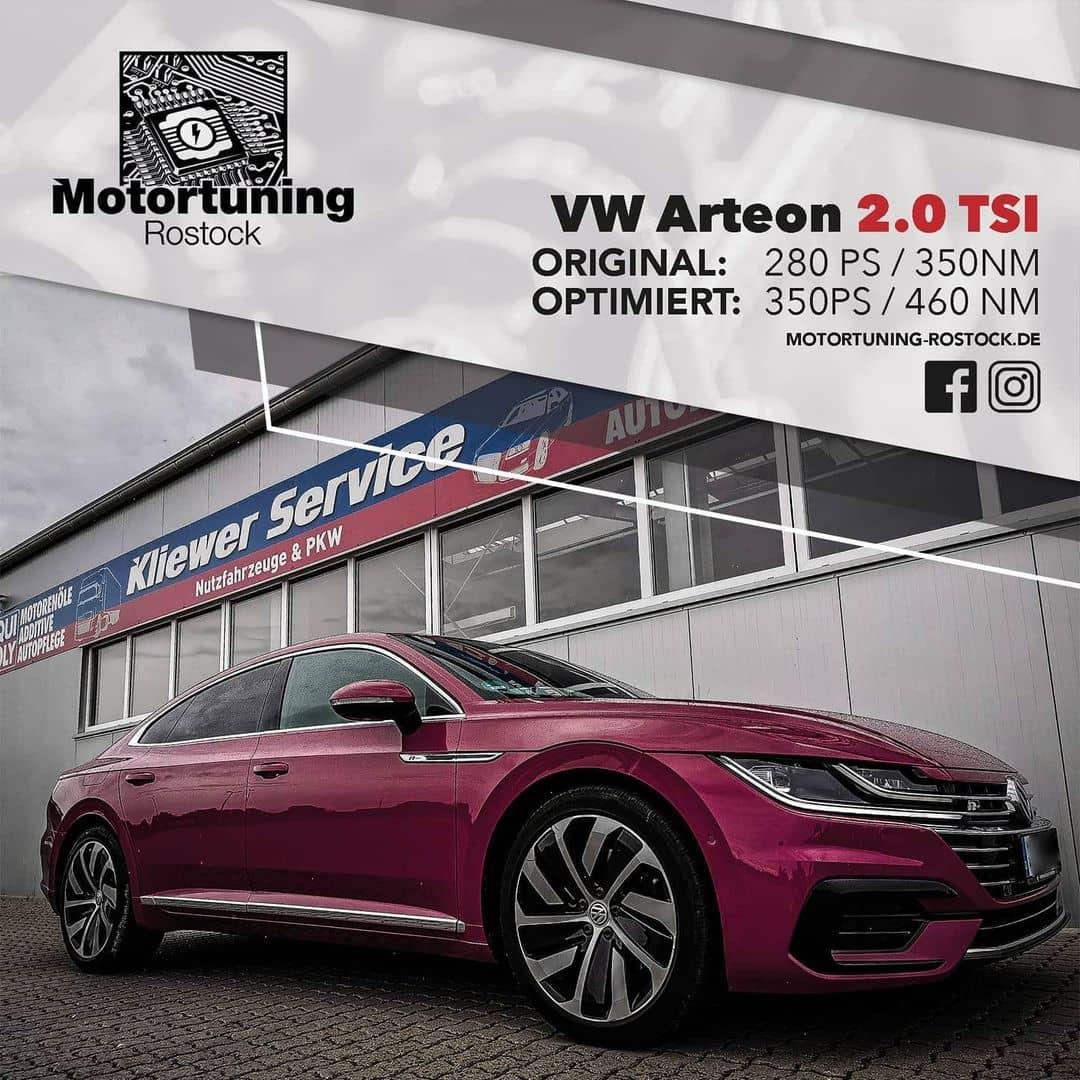 Chiptuning-Motortuning Rostock, Kennfeldoptimierung, Leistungssteigerung, VW Arteon 2.0 TSI , Ansicht schräg vorn, rot, Originalleistung: 280 PS,optimierte Leistung: 350 PS