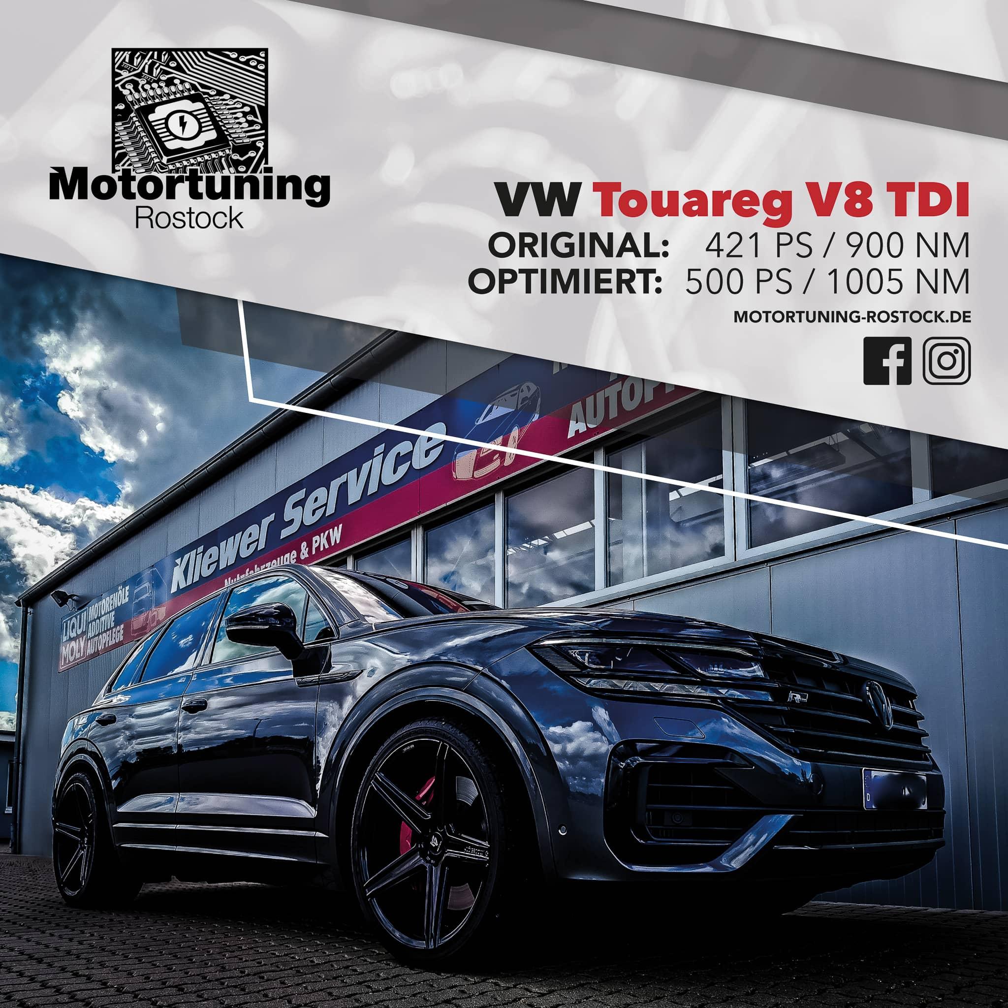 Chiptuning-Motortuning Rostock, Kennfeldoptimierung, Leistungssteigerung, VW Touareg V8 TDI, Ansicht schräg vorn, weiß, Originalleistung: 421 PS,optimierte Leistung: 500 PS