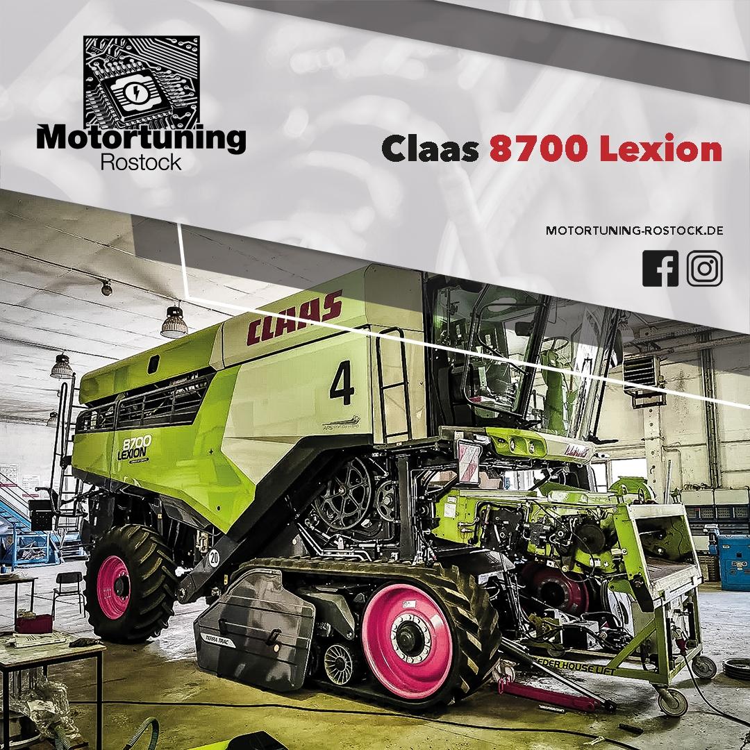 Chiptuning-Motortuning Rostock, Kennfeldoptimierung, Leistungssteigerung, Claas 8700 Lexion, Ansicht schräg vorn, grün, Originalleistung: PS, optimierte Leistung: