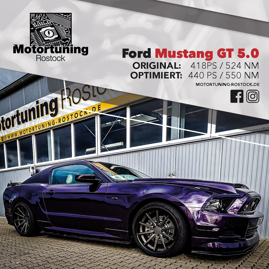 Chiptuning-Motortuning Rostock, Kennfeldoptimierung, Leistungssteigerung, Ford Mustang GT 5.0 , Ansicht schräg vorn, blau, Originalleistung: 418 PS,optimierte Leistung: 440 PS