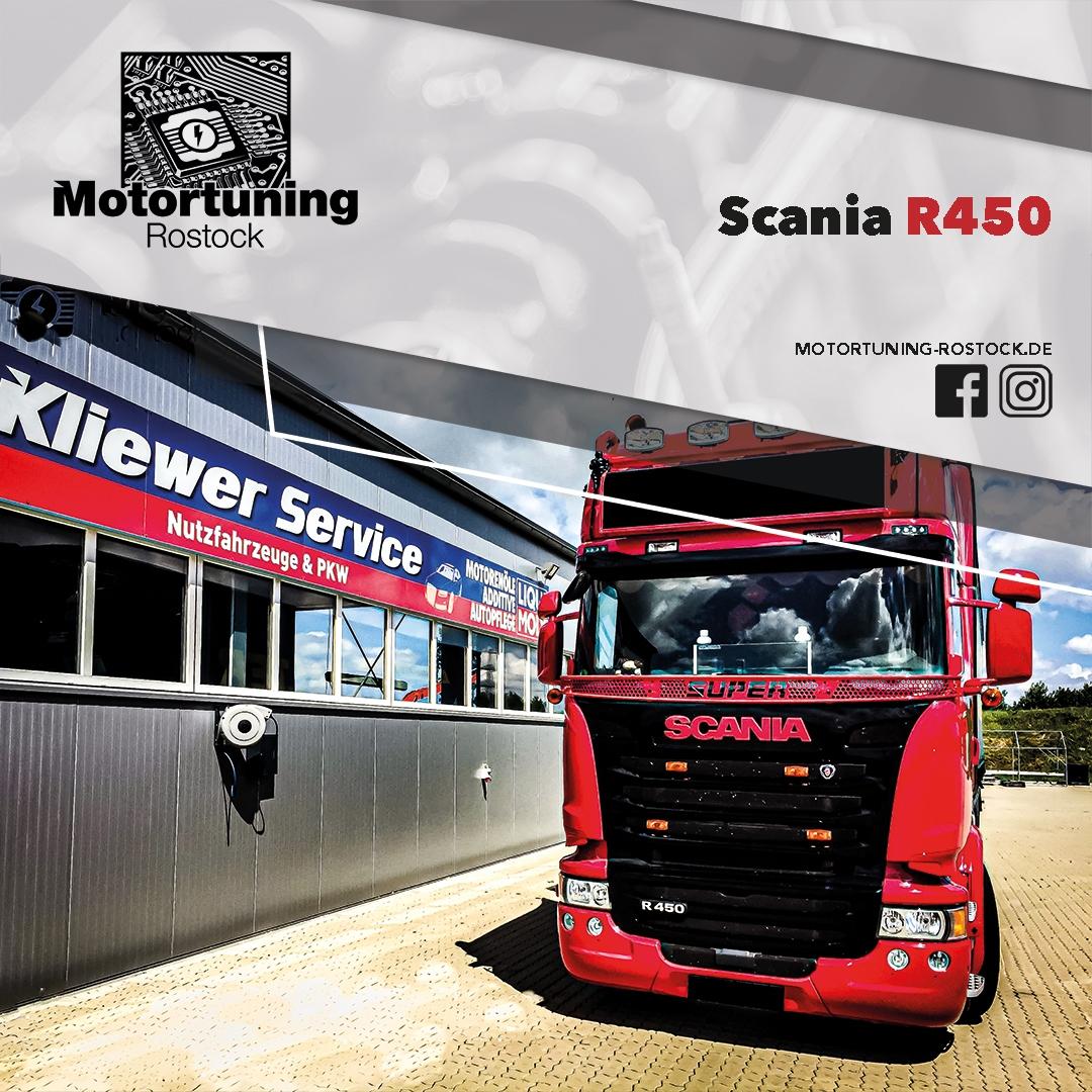 Chiptuning-Motortuning Rostock, Kennfeldoptimierung, Leistungssteigerung, Scania R450, Truck LKW, Ansicht schräg vorn, rot, Originalleistung: optimierte Leistung: