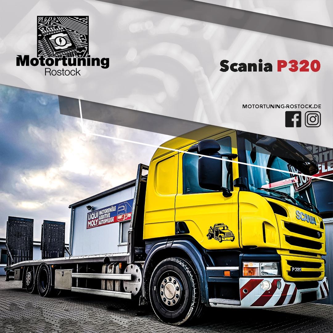 Chiptuning-Motortuning Rostock, Kennfeldoptimierung, Leistungssteigerung, Scania P320, Truck LKW, Ansicht schräg vorn, gelb, Originalleistung: optimierte Leistung: