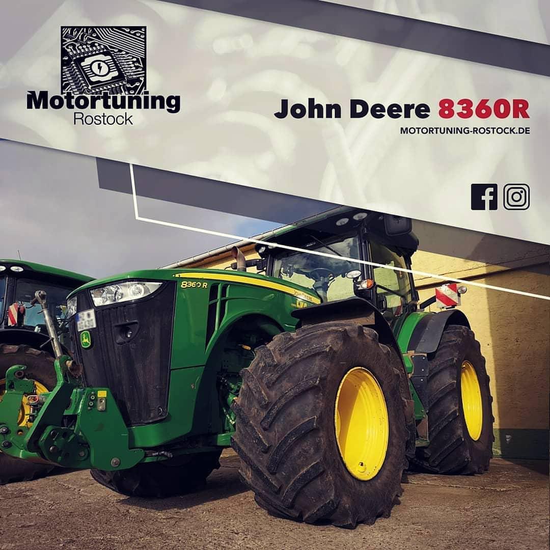 Chiptuning-Motortuning Rostock, Kennfeldoptimierung, Leistungssteigerung, John Deere 8360R, Ansicht schräg vorn, grün, Originalleistung: PS, optimierte Leistung: