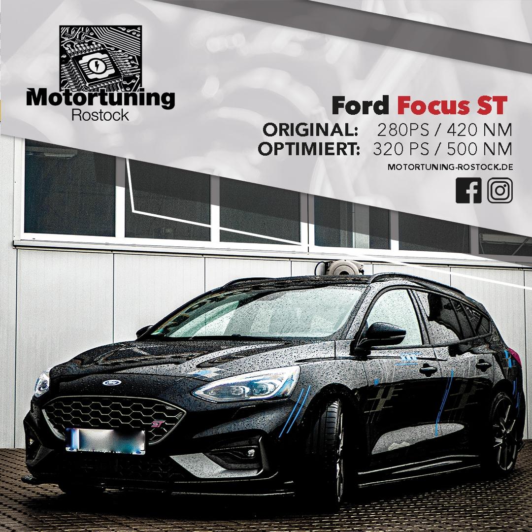 Chiptuning-Motortuning Rostock, Kennfeldoptimierung, Leistungssteigerung, Ford Focus ST, Ansicht schräg vorn, schwarz, Originalleistung: 280 PS,optimierte Leistung: 320 PS