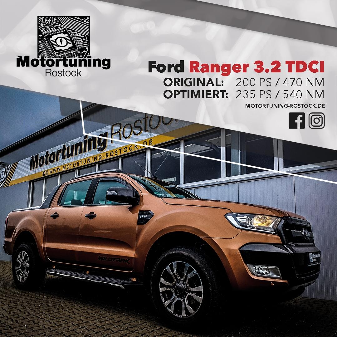 Chiptuning-Motortuning Rostock, Kennfeldoptimierung, Leistungssteigerung, Ford Ranger 3.2 TDCI, Ansicht schräg vorn, orange , Originalleistung: 200 PS,optimierte Leistung: 235 PS