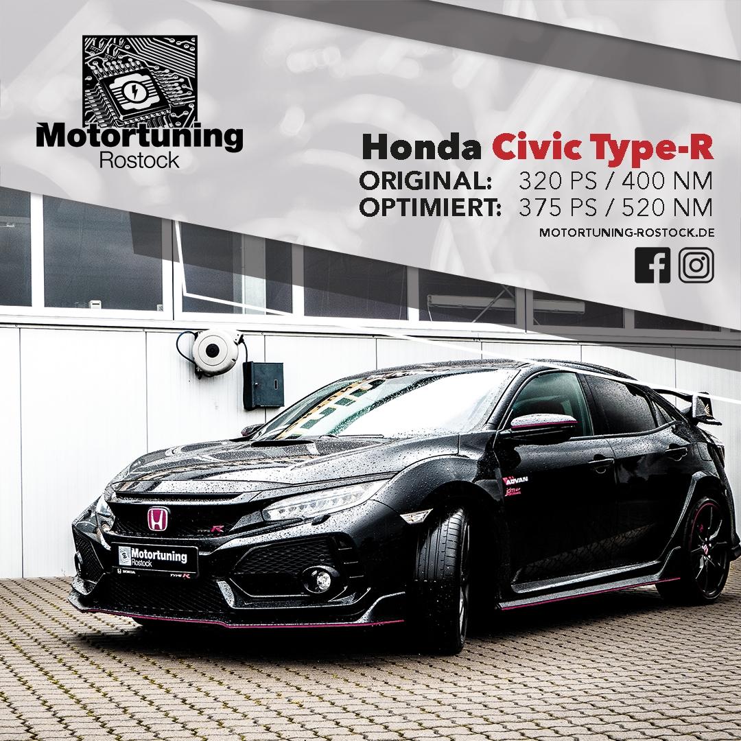 Chiptuning-Motoroptimierung-Rostock, Schwarzer Honda Civic, Ansicht schräg vorn, Originalleistung 320 PS, Optimierung auf 375 PS