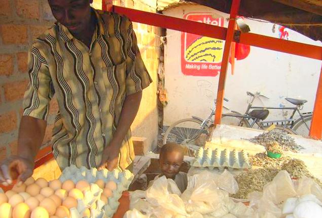 Eggs and fish Mpongwe Marketplace