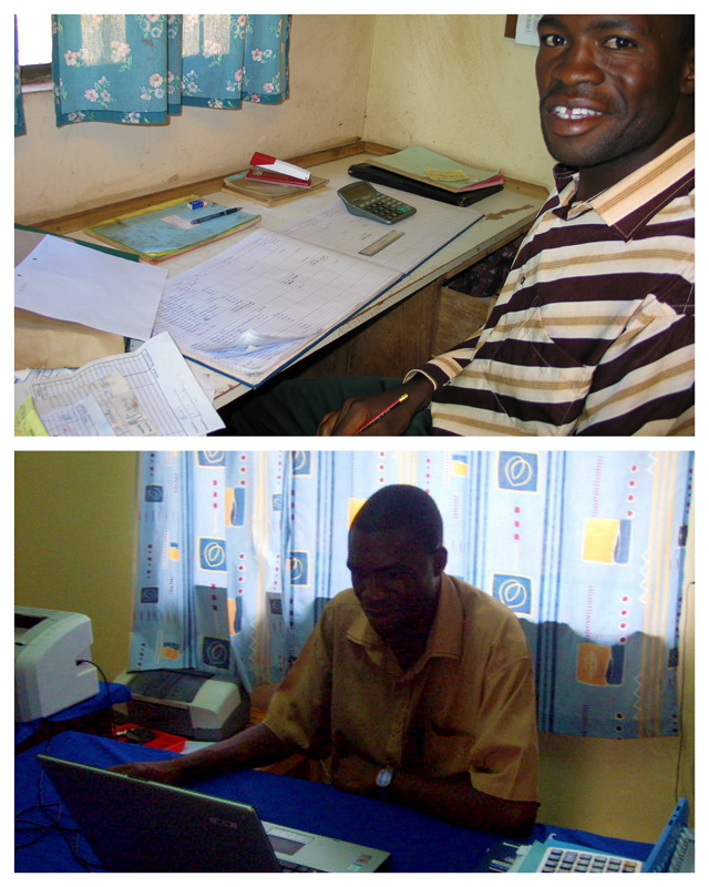 Development Project 2007-2009 Accounting was done manually. During the project accounting has been computerized. Here Edwin Chipelelo before and then getting started with accounting software