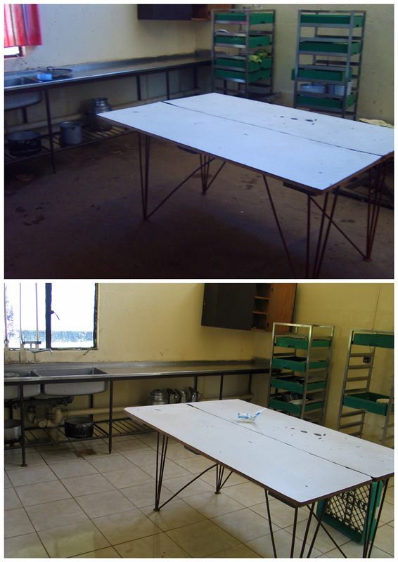 Mpongwe Mission Hospital Kitchen Before and After refurbishments done by Friends of MBA Zambia UK in 2008