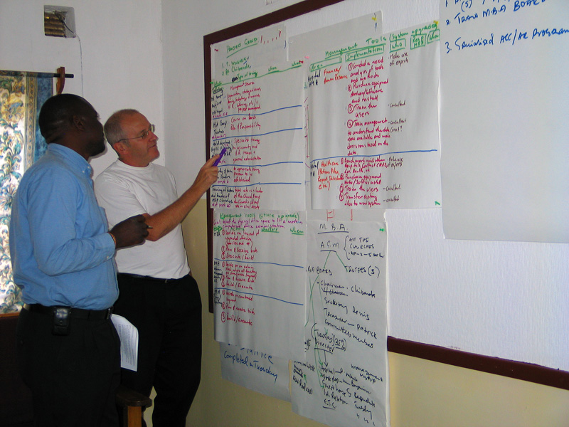 Dir Tuesday Musaka and Project Volunteer Mr Claes Paulsson designing detailed program plan in Mr Musakas office, before it had been upgraded