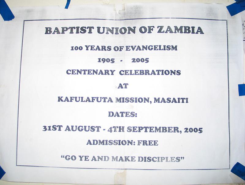 Baptist Union Zambia Centenary invitation