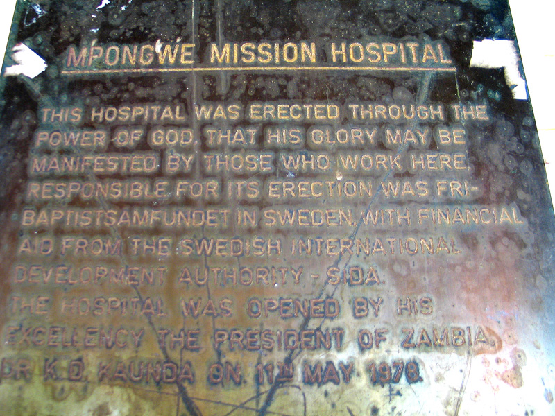 Mpongwe Mission Hospital plaque