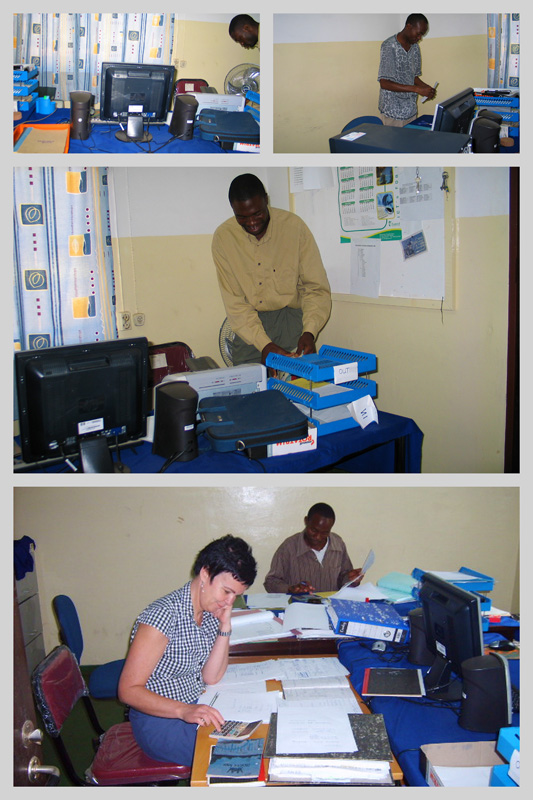 MBA Management Tool Upgrades Accounts are now computerized. Here Gudrun Boström assists Edwin Chipelelo and Patrice Mutakela with accounting.