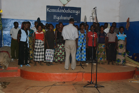 recording in Mpongwe Baptist Church August 2008