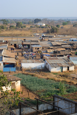 Mpongwe marketplace Photo Copyright Matt Roe taken August 2008 from MBA water tower.