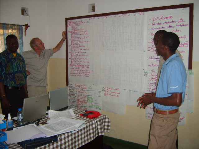 Working through the project plan Mr Musaka, Mr Claes Paulsson, Patrice Mutakela and Edwin Chipelelo, in Mr Musakas office