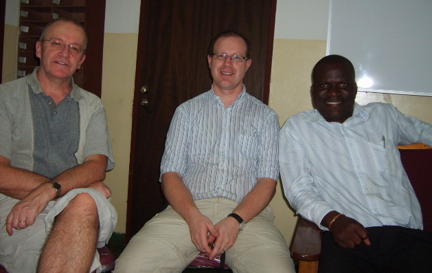 Project Volunteers Claes Paulsson and Urban Wijk with Project Director Mr Tuesday Musaka