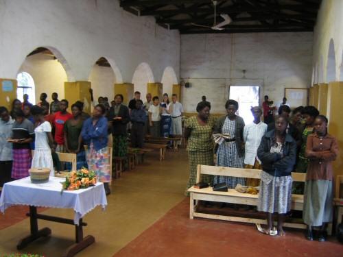 Mpongwe Baptist Church interior older photo