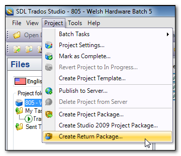 Creating a Return Package from the Project menu