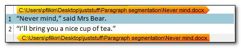 Sentence based segmentation