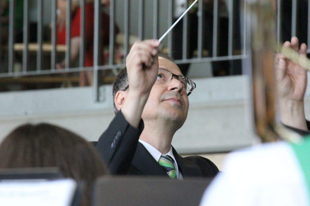 Aufnahme von unserem Dirigenten Bruno Ritter an den Kreismusiktagen 2018 in Montlingen.