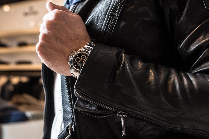 Sort med sort på. Rolex Daytona ref. 16520 i stål med let patineret - og sort - skive.