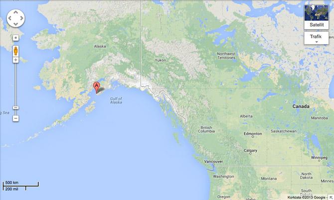 English Bay? Det er lige ved det røde A. Foto: Google