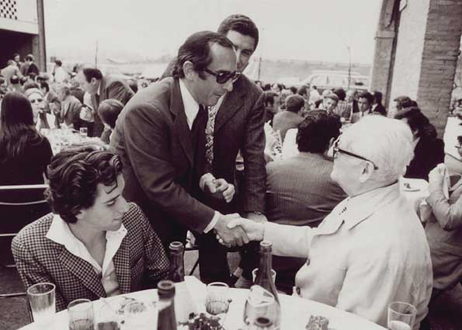 Jack Heuer og Enzo Ferrari i 1974